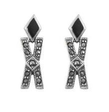 Marcasite Black Onyx Earrings Sterling Silver 925 Vintage Jewelry Gift