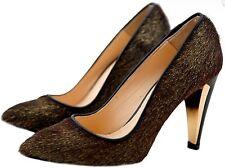 REBECCA MINKOFF Steady Brown Metallic Calf Hair Leather Pump Heels US 6/36 Gold