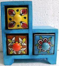Wooden Ceramic Drawer Box Handmade Hand Painted Decor Art