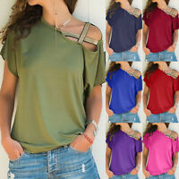 Women Casual Summer Loose Off Shoulder T-Shirt Solid Short Sleeve Tops Blouse
