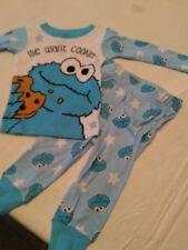362eb35327 baby boy Sesame Street Cookie Monster blue long-sleeve pajama set 12 month  new