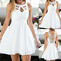 Womens Boho Back Lace Short Dress Sleeveless Evening Party Summer Beach Sundress