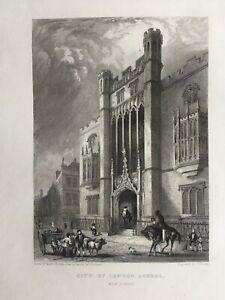 1838 Antique Print; City of London School, Milk Street after Robert Garland