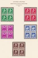 SC # 864-68 - FAMOUS AMERICAN POETS 1940  5 BLOCKS OF 4 (1-10 C) STAMPS  OG  MNH