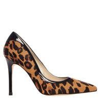 Karen Millen Leopard  Heeled Courts Leather Shoes Pumps Pointed Stiletto 37 4