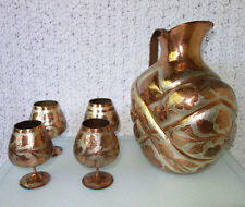 5 pc NOVIKA Hammered Etched Copper & Silver DRINK SET: Large Pitcher, 4 Goblets