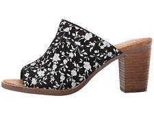 NEW Authentic TOMS 'Majorca' Floral Suede Mules, Black/Silver, Women Size 9.5