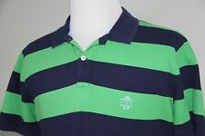 VTG BROOKS BROTHER Mens Green Blue Stripped Big Logo SS Rugby Polo Shirt Large L