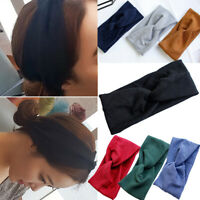 Fabric Headband Sweatband Stretch Sweat Elastic Sport Yoga Run Solid Hair Band