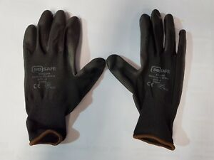 Mens So Safe Nitrile Palm Coated On Nylon Safety Cuff Work Gloves Pair Grey-Blac