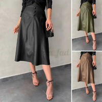 UK Women PU Leather Skirt Dress Ladies Gypsy Long Party A-Line Skater Skirt 8-26