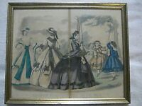 Gettysburg Civil War era Print Godey's Fashions For June 1863. Ladies Dresses