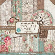 Blocco 10 Carte Scrapbooking 30x30 cm Roses Laces & Wood © Stamperia SBBL25