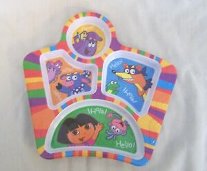 """Plate Dora the Explorer Friends  5 Section Kids English Spanish Hello  8"""" by 9"""""""