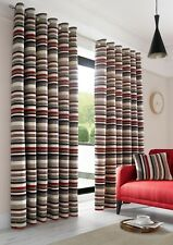 Rich Heavy Chenille Stripes Jacquard Lined Blockout Ring Top Eyelet Curtain Pair