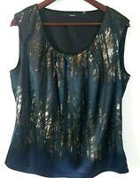 Tahari Sleeveless Top Shirt Tank, Lined Side Zipper Blacks and Browns, Size L