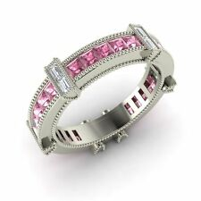 Diamond 14k White Gold Wedding Ring Certified 1.41 Ct Natural Pink Sapphire &