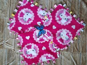 New Hello Kitty Fleece w/Pink Minky, Taggie Tag Security Blanket, Baby,Toddler