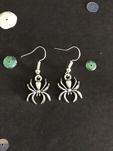 Silver Spider Earrings. Vintage Style Dangly Charm Earrings. Halloween Jewellery