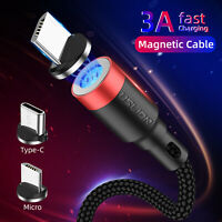 Magnetic 3A Cable Type C Micro USB Fast Charger Data Sync For Mobile Cell Phones