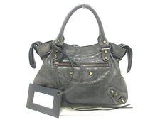 Authentic BALENCIAGA Dark Gray The Town 240579 Leather Handbag w/Dust Bag/Strap