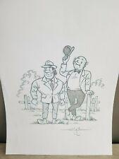 dessin original sur feuille A4 de Goossens bd bob et bobette vandersteen