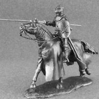 Metal Toy Soldiers Cavalry 1/32 Knight with Lance Horse Rider Sculpture 54mm