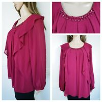 ❤️CREALINE burgundy vine red ruffle beaded layered blouse top size 14 1312