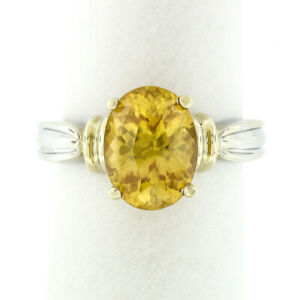 14k Two Tone Gold 4.31ct Prong Oval Yellow Zircon Solitaire Ring w/ Grooved Band