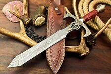 Cutlery Salvation Handmade Damascus Dagger Double Edge Knife | Hard Wood Handle