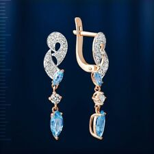 Russian solid rose gold 585 14k Marquise light blue topaz CZ dangle earrings NWT