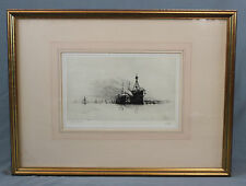 Nautical Etching HMS Terrible HMS Hindustan After Harrold Wyllie
