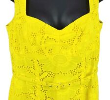 Nanette Lepore Yellow Sunflower Eyelet Short Dress Sleeveless Belt Sz 10 lined