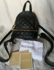 NWT ~ Michael Kors Rhea Zip Xs Messenger Backpack Quilted Black Leather