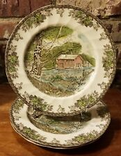 """Johnson Brothers FRIENDLY VILLAGE OLD MILL Dinner plate set of 3, 10 1/2"""", EUC"""