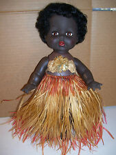 VINTAGE PALITOY BLACK VINYL GIRL DOLL GRASS SKIRT, 1950'S-1960'S MADE IN ENGLAND