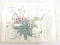 1853 Antique Map of Marseille France City Street Plan Hand Coloured Engraving