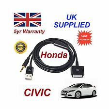 Para Honda Civic Iphone 3gs 4 4S Ipod USB & 3.5mm Cable Auxiliar Repuesto Negro
