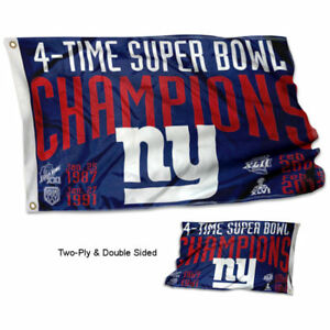NY Giants 4 Time Super Bowl Champions Two Sided Flag