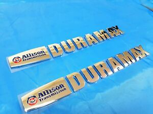 2PCS NEW Chrome Allison Duramax Emblem Letters for Silverado 2500 HD 3500 HD