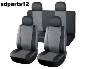 Per Nissan Toyota Coprisedili Auto In Ecopelle Fodere Grigio Scuro Nero 8 Pezzi