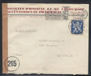 BELGIUM Commercial Cover Brussels to New York 25-7-1943 Cancel