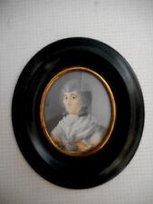 Miniature de vieille femme.Portrait .XVIII°.Peinture.Période révolutionnaire.