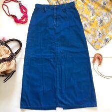 Liz Claiborne Womens A-Line Long Modest Skirt Small Sz 27 Denim Blue Back Slit