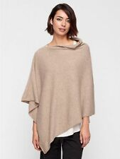 NWT NIP $338 EILEEN FISHER Italian 100% Cashmere Poncho Undyed ALMOND Natural