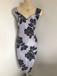 JACQUES VERT Size 14 Lilac Purple Floral Dress Wedding Mother Of The Bride