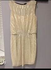1920 Style Gatsby Flapper Charleston Sequin Beaded Dress Pink Nude 6 2 34 New