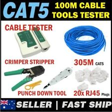305m Cat5/5e Rj45 Ethernet LAN Network Cable Tools Crimper Stripper Bundle
