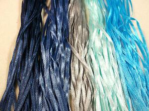 "Craft Sew Knit Braid - 50 metres 3mm (1/8"") Narrow Ribbon -  Ocean Tones"