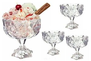 Diamond Glass Desert Bowls Clear Set Ice Cream Pudding jelly Table Serving Bar